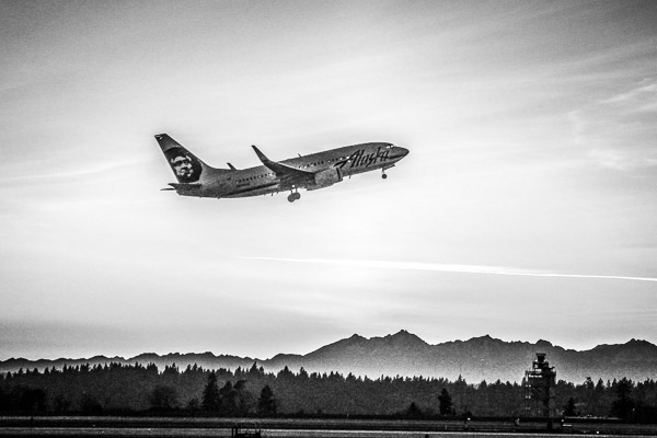 Alaska Airlines 737 Black and White Artistic