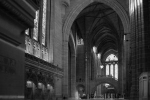 Liverpool Cathedral Black and White Inside