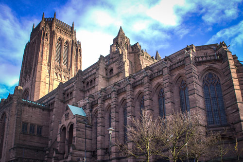 Liverpool Cathedral Outside under Blue Sky