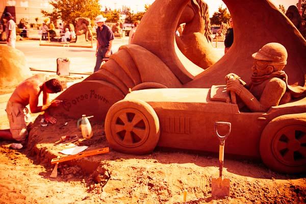 Sand Sculpture of Car Redscale