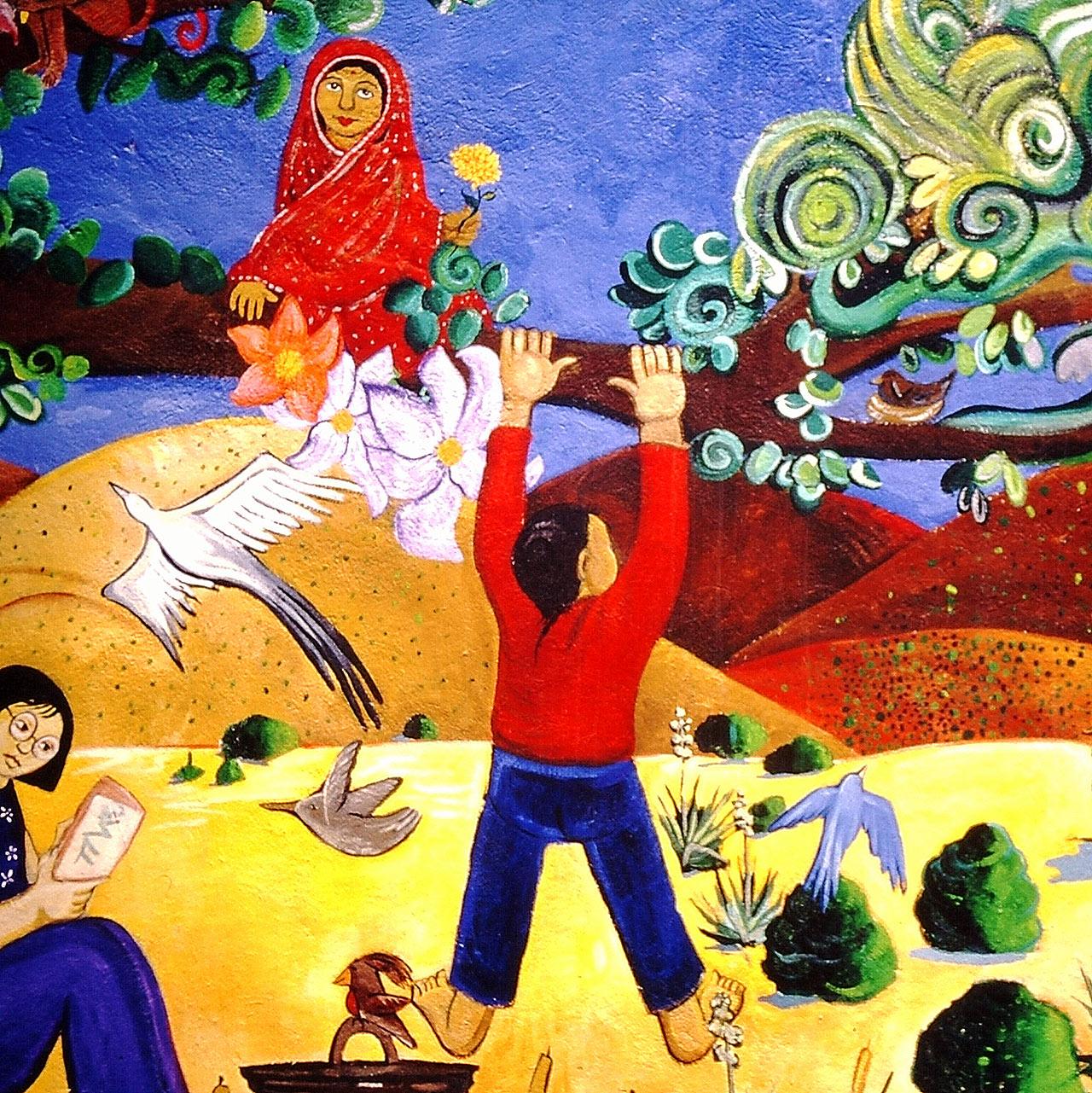 Santa Fe Outside Art on Wall Child Climbing Tree
